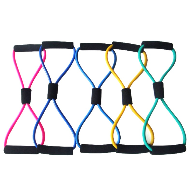 NEW Random Color 8 Shape Elastic Tension Rope Resistant Bust Expander Multifunction Sport Fitness Rope Belt