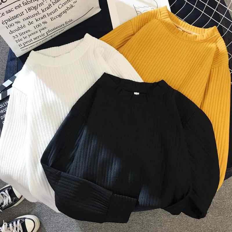 เสื้อกันหนาวผู้หญิง 2019 ฤดูหนาวฤดูใบไม้ร่วงใหม่สีทึบฐานเสื้อแขนยาว O คอแฟชั่นหลวม Harajuku Slim เสื้อกันหนาวหญิงเสื้อ