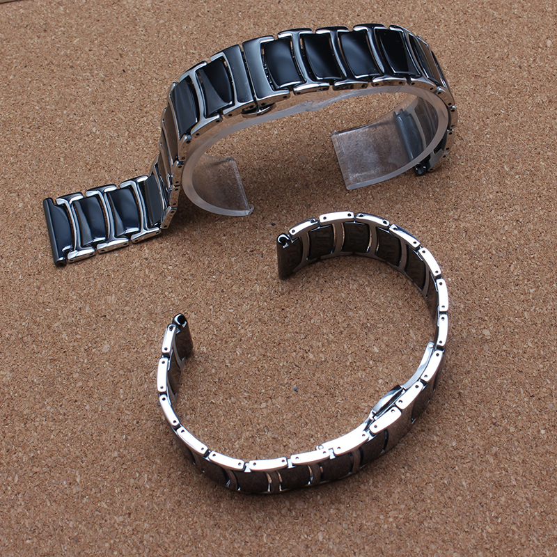 ФОТО Quality 20mm 22mm Polished Black Stainless steel and ceramic Watchband Butterfly Deployment Clasp Watchband for samsung gear S3