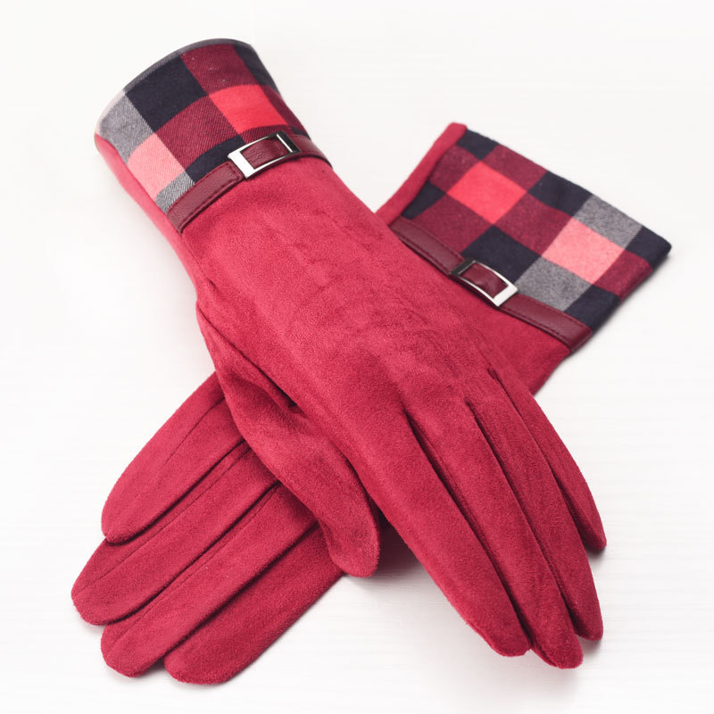 CUHAKCI Womens Winter Gloves Suede Screen Gloves Ladies Warm Plaid Mittens Polyester Keep Hands Elegant Gifts Girls Mittens New