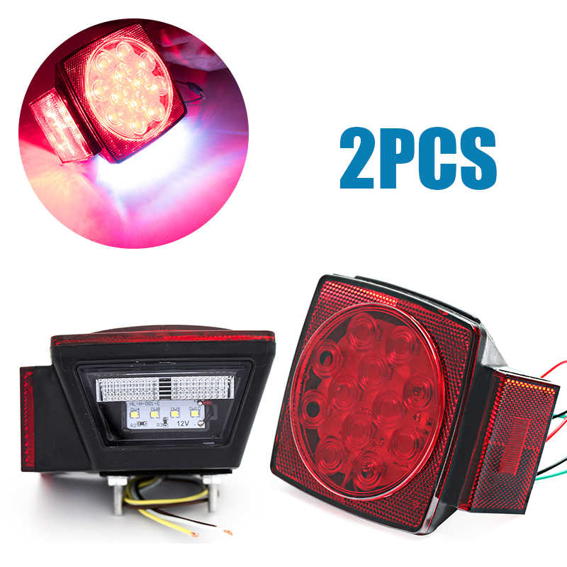 2x Pair LED Square Lights Trailer DC 12V Tail Stop Brake Waterproof& Shockproof