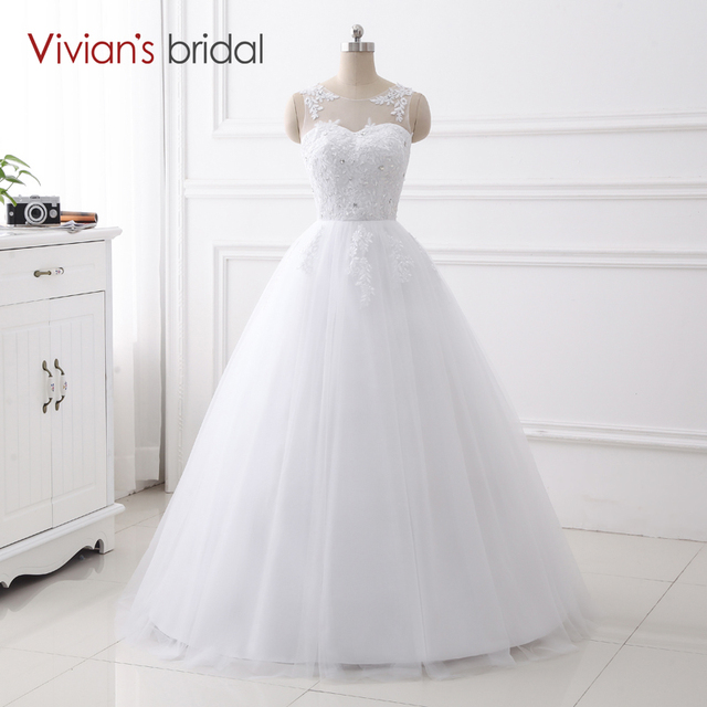 Simple Design A Line Wedding Dress Sleeveless Vivian\'s Bridal Sequin ...