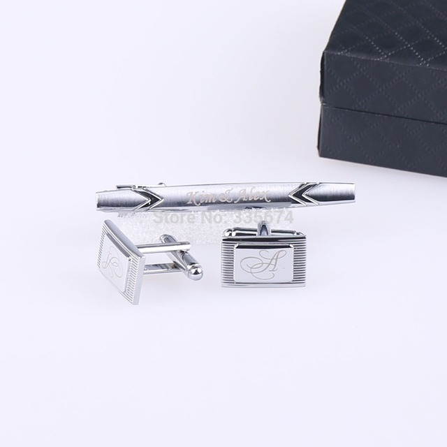 CT-005  New Fashion Personalized Engraved Cufflinks and Tie Clip Sets  for Men With gift box