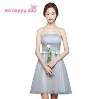 european style womens summer gray strapless girl dress elegant dresses bride maids tulle ball gown for weddings H3567