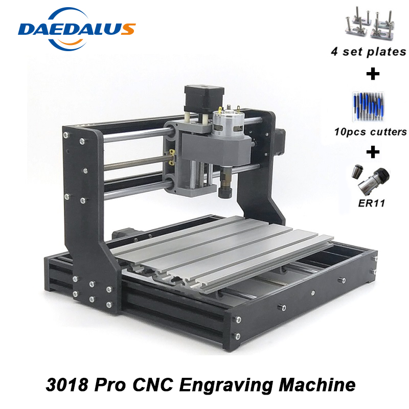 Free Shipping CNC Engraver 3018 PRO Engraving Machine Mini DIY PCB ER11 Wood Router Motor 3 Axis Pro GRBL Control Engraver cnc engraver machine 3018 pcb milling wood router diy machine grbl control wood carving engraver with er11 spindle motor