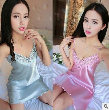 Nuevo 2016 camisón de mujer ropa de dormir Verano CALIENTE sexy encaje se desliza damas vestido de seda