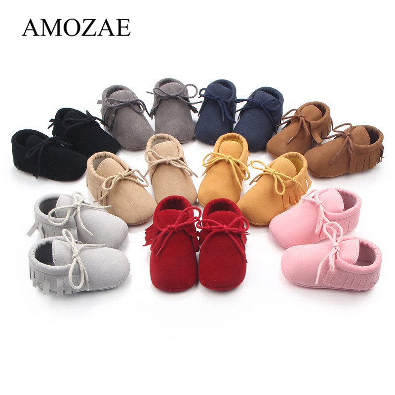 9 Color New Suede PU Leather Baby Shoes Baby Girls Boys Tassel Shoes For Newborn Baby Lace-up Indoor Casual Sneaker For 0-18M