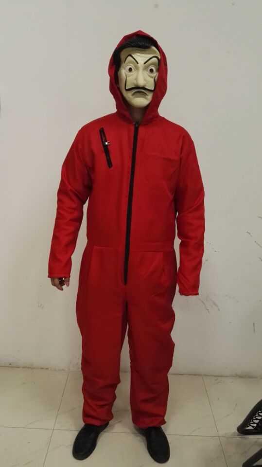Mascara La Casa De Papel Costume Mask Red Full Bodysuit M L XL XXL