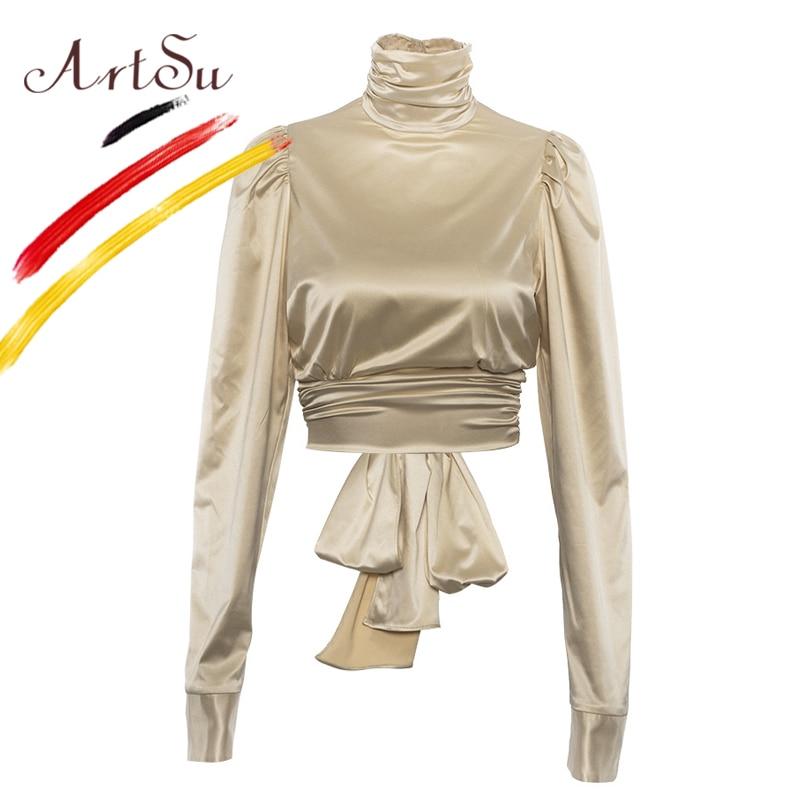 ArtSu Sexy Lace Up Bow Silk Satin Blouse Women Gold Puff Sle