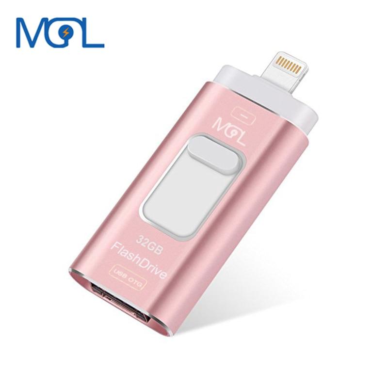 MGL Mini Usb Flash Drive 128gb 64gb 32gb OTG Flash Pen Drive 16gb 8gb For iPhone 8/7/7Plus/5/5s/5c/6/6s Plus/ipad Pendrive