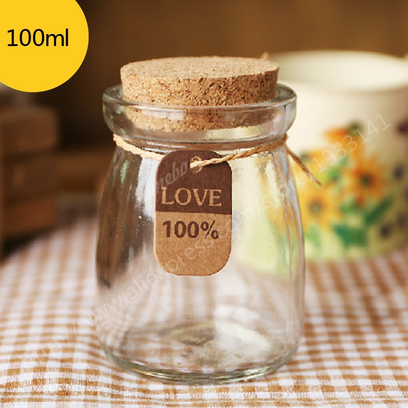 500PCS lot DIY Levitation Bottle For Pudding Mini Glass Bottles With Corks Clear 100ml Milk Jar