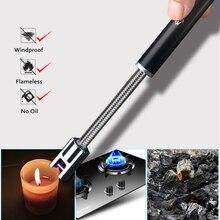 360 шеи вращения импульса дуги легче USB Электронные Зажигалки Перезаряжаемые Портативный без зажигания пламени инструменты для свечи