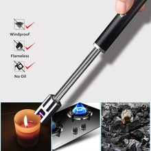 360 Neck Rotation Pulse Arc Lighter USB Electronic Cigarette Lighters Rechargeable Portable No Flame Ignition Tools For Candle