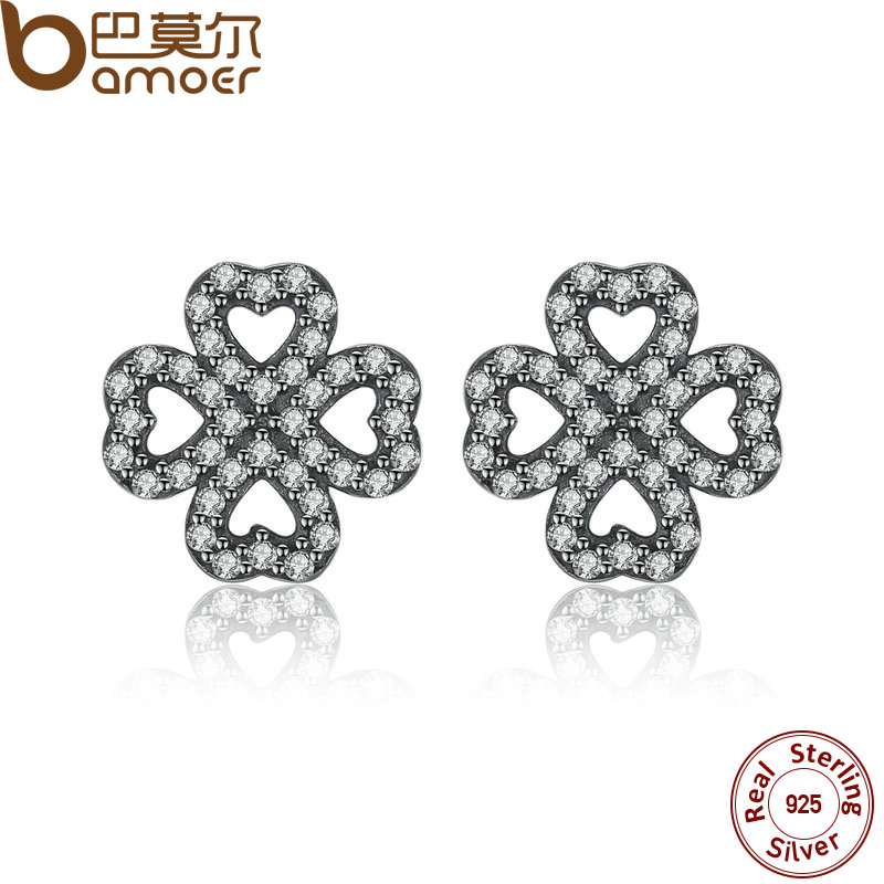BAMOER Sparkling 925 Sterling Silver Petals of Love, Clear CZ Stud Earrings for Women High Quality Fine Jewelry PAS435 pair of stylish rhinestone alloy stud earrings for women