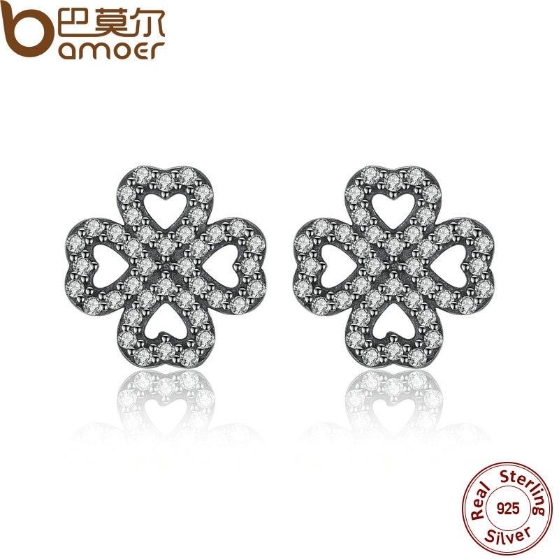 BAMOER espumoso 925 pétalos de plata esterlina de amor, claro CZ Stud Earrings para las mujeres joyería fina de la alta calidad PAS435