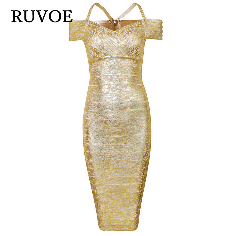 2017 New Gold Foil Stamp Strap Back Slit Bandage Dress Off the Shoulder Bodycon Dress elastic knitted hl party dresses B-47 silvercell women sexy off shoulder club dress fashion knitted elastic sweater slim bodycon dress vestidos