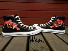 Wen Men Women's Hand Painted Shoes Design Custom the Lion of King Black High Top Men Women's Canvas Sneakers