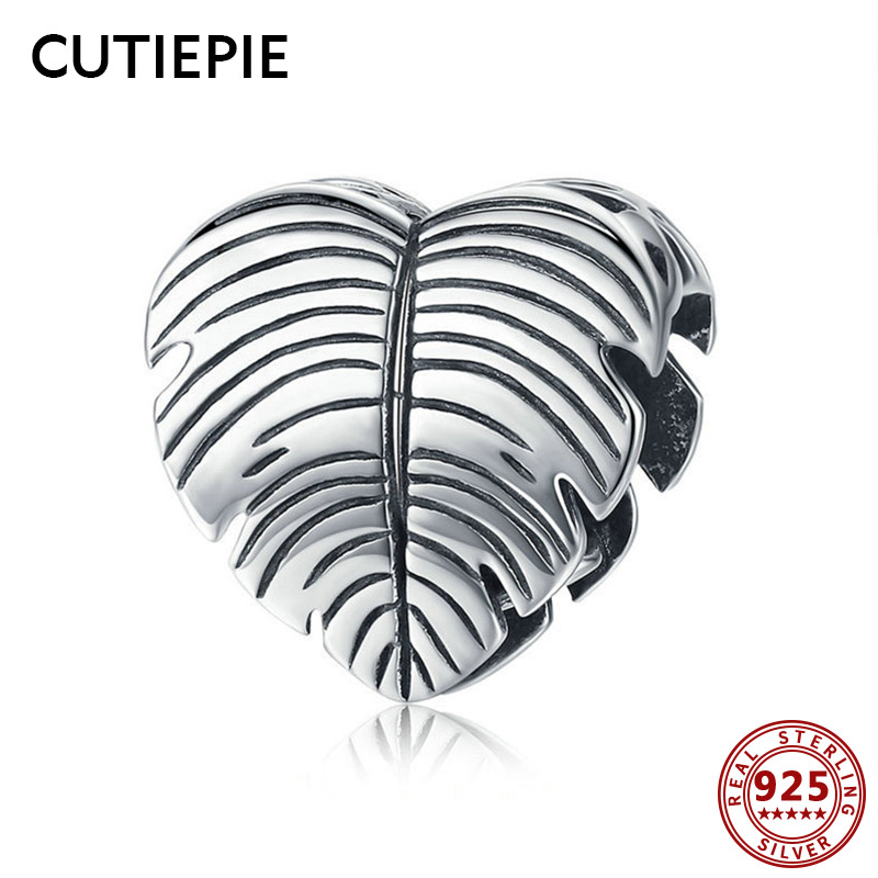 Cutiepie Widespread 100% Actual 925 Sterling Silver Banana Leaf Leaves Coronary heart Form Beads For Girls Diy Bracelet Necklace Jewellery Present