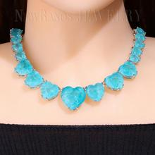 Newranos Heart Crystal Necklace Blue Natural Fusion Stone Choker Necklace for Women Fashion Jewelry NFX0013124 stylish hollowed heart choker necklace for women