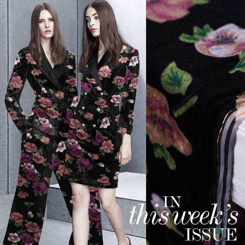 High-grade 114cm wide velvet fabric bottom 100% silk brilliant flower printing velvet fabric cheongsam velvet fabric