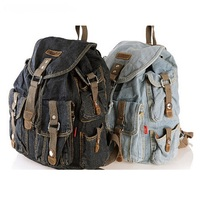 Classic Vintage Fashion Denim Jean Women Backpacks Retro Style Backpack Bags Girls School Bags Travel Casual