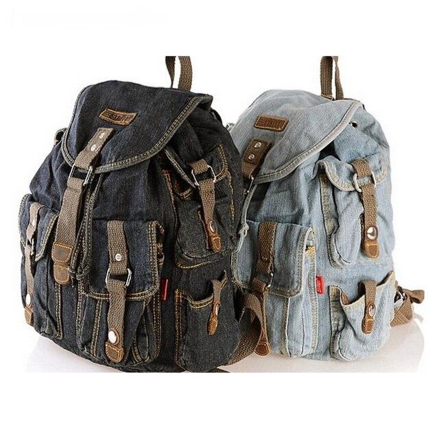0beb5a3f0f50e Klasyczny W Stylu Vintage Moda Denim Jean Kobiety Plecaki Retro Style Plecak  Torby Dziewczyny Szkoła Torby