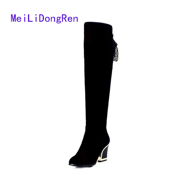 fashion suede over knee boots women round toe shoes ribbons horse