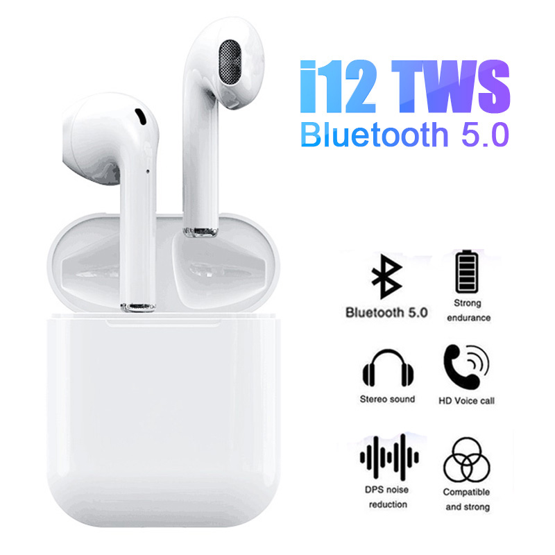 i12 Mini TWS Touch Bluetooth 5.0 Earphone +Cover Case 3D Stereo Headset Wireless