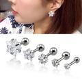 1 Pair 3~8mm Cartilage Earring Star Zircon Stud Earrings Cartilage Tragus Helix Piercing Stainless Steel Earrings for Women