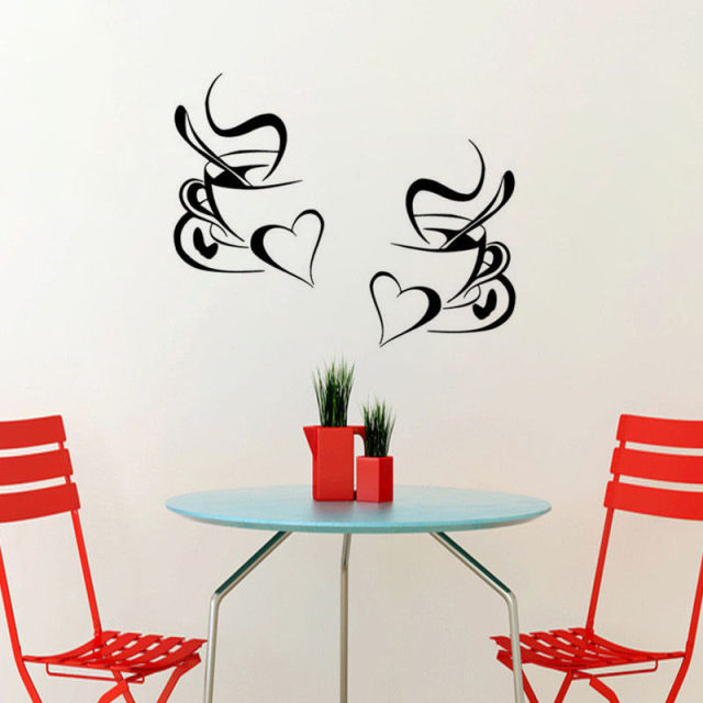 2pcs Coffee Cup Wall Sticker Home Decor Coffee Wall Art Removable Kitchen  Wall Decal Vinyl Mural