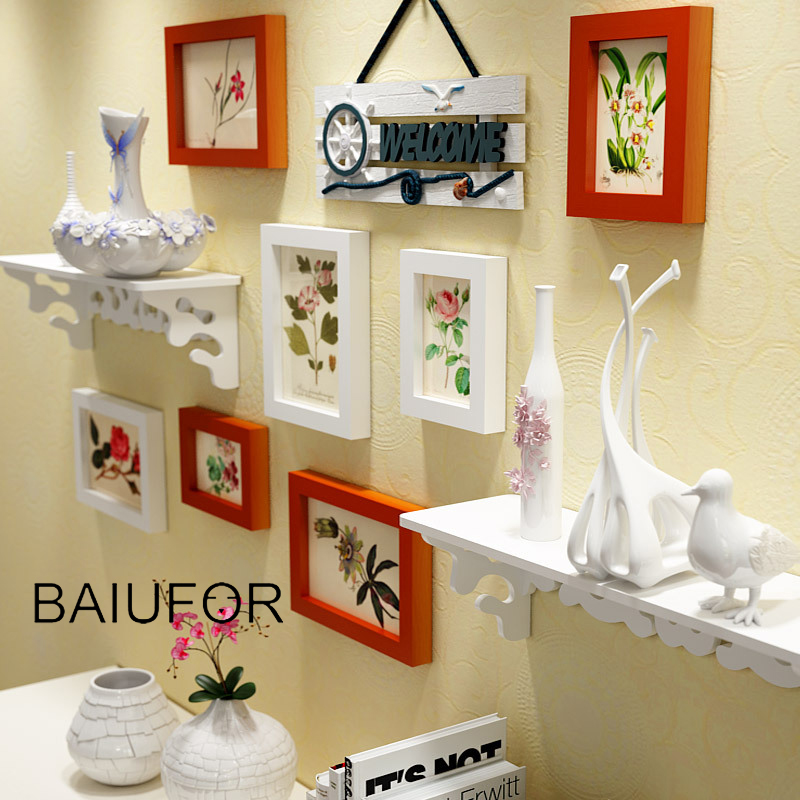 BAIUFOR Vintage Frame Photo Wood Frames Set European Picture Frame with Shelf Wall Painting Living Room Decor cadre photo murale shelf