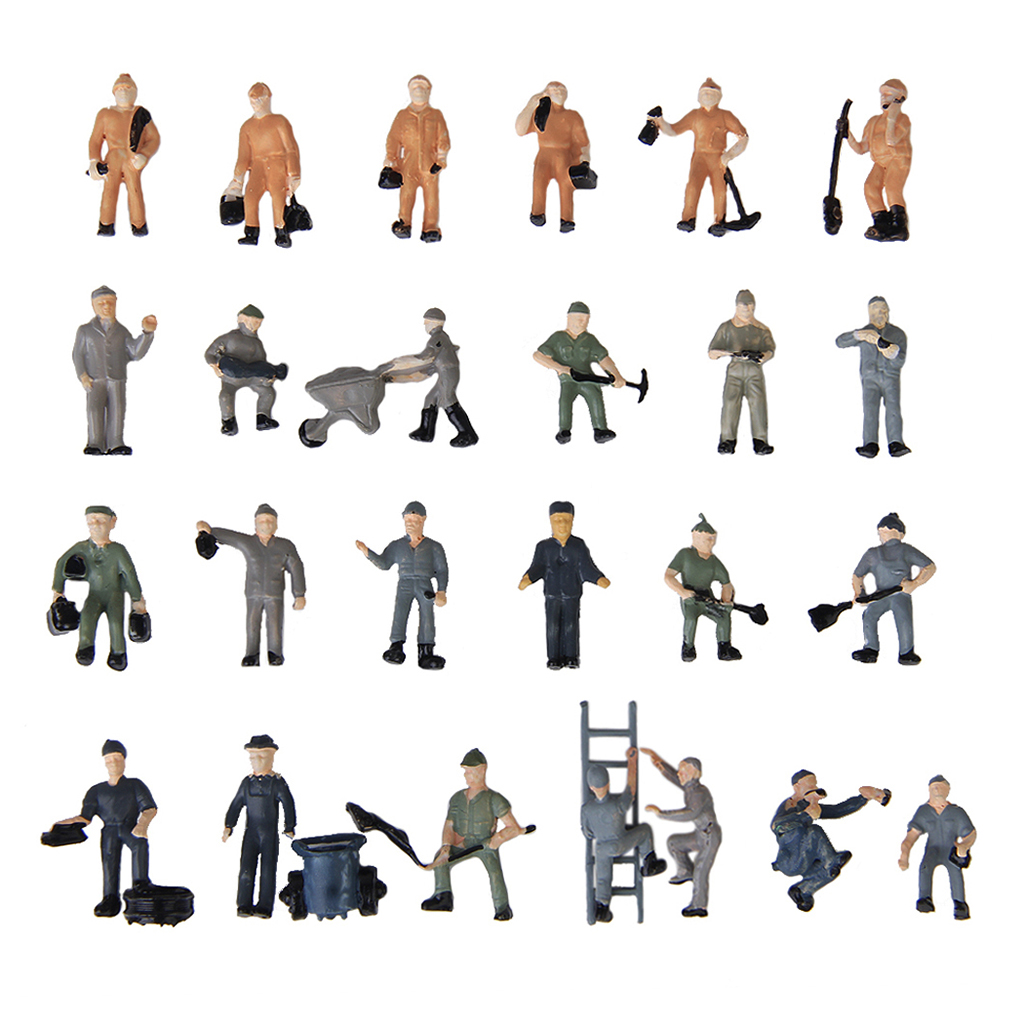 25pcs Model Train Track Railroad Worker People Figures With Tools 1:87 HO Scale