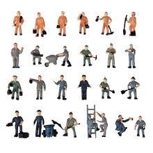 25 pçs modelo trilho ferroviário trabalhador pessoas figuras com ferramentas 1:87 ho escala