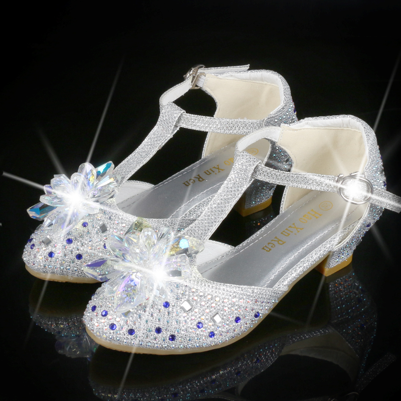 Children Crystal Rhinestones Leather Shoes High Heels Spring And Autumn Girls Princess Shoes Summer Diamond Children Shoes