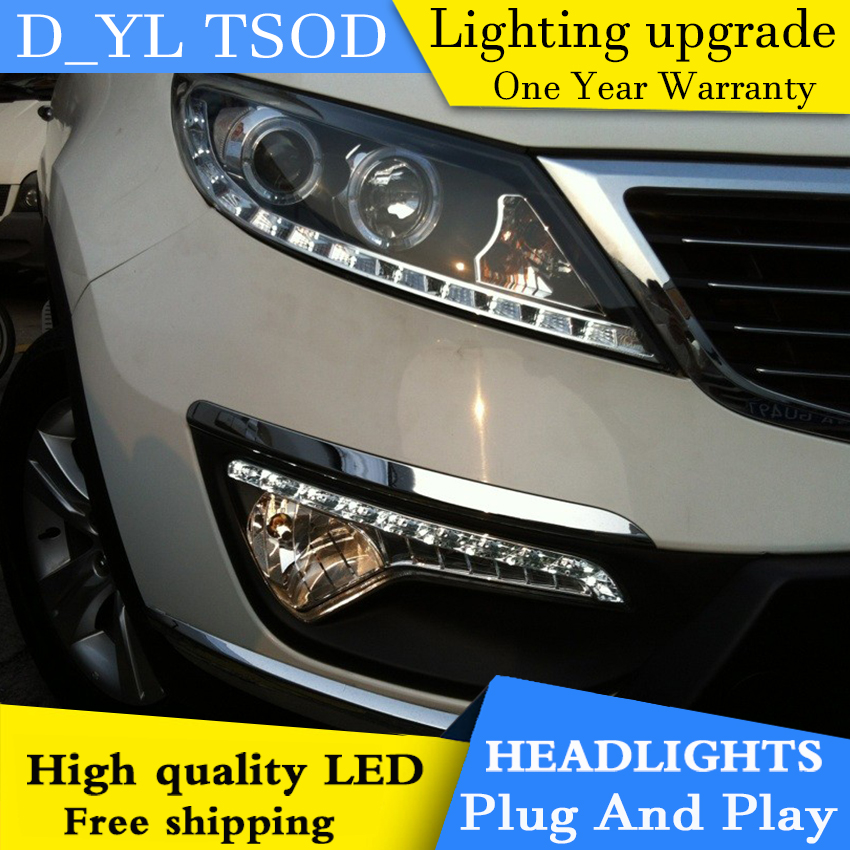 Car styling for Kia Sport LED Headlights 2011 2014 Headlamp assembly Turn lights DRL lens H7 HID xenon bi xenon lens Accessories - 2