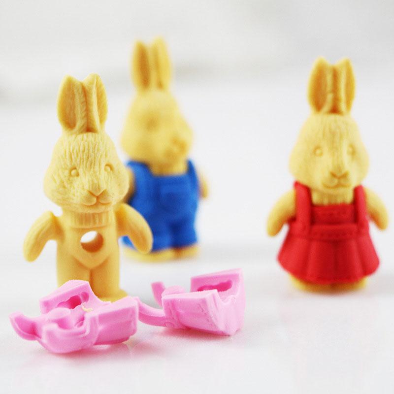 Купить с кэшбэком 1X Cartoon assemble eraser mini Bunny modelling eraser children stationery gift prizes kawaii school office supplies papelaria