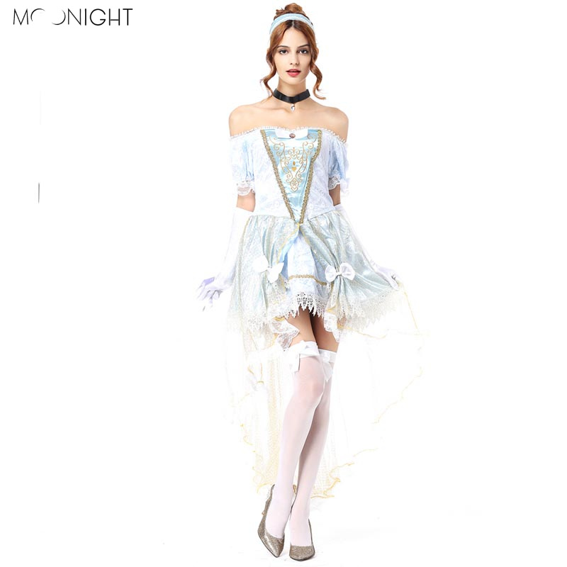 MOONIGHT 2018 New Costume Sexy Women Strapless shoulder Princess Dress Cosplay Halloween Costumes For Women Fancy Dres