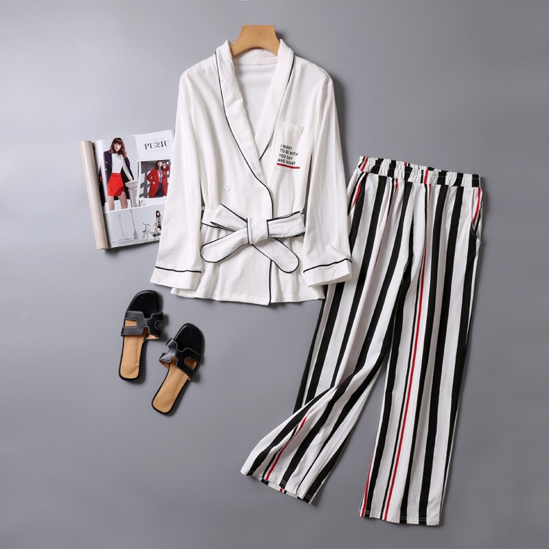 V-NeckWomen Cotton Sleepwear Bow Pyjamas Women Stripe Female Suit Fashion Women Pajamas Autumn Long Sleeve Home Wear Comfortable