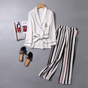 Image 1 - V NeckWomen Cotton Sleepwear Bow Pyjamas Women Stripe Female Suit Fashion Women Pajamas Autumn Long Sleeve Home Wear Comfortable