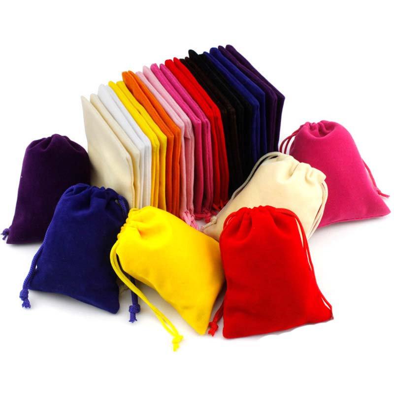 10pcs/lot Colorful Velvet Bags 8x10cm Drawstring Jewelry Packaging Pouches Christmas/Wedding Gift Bag Storage Organza Bags