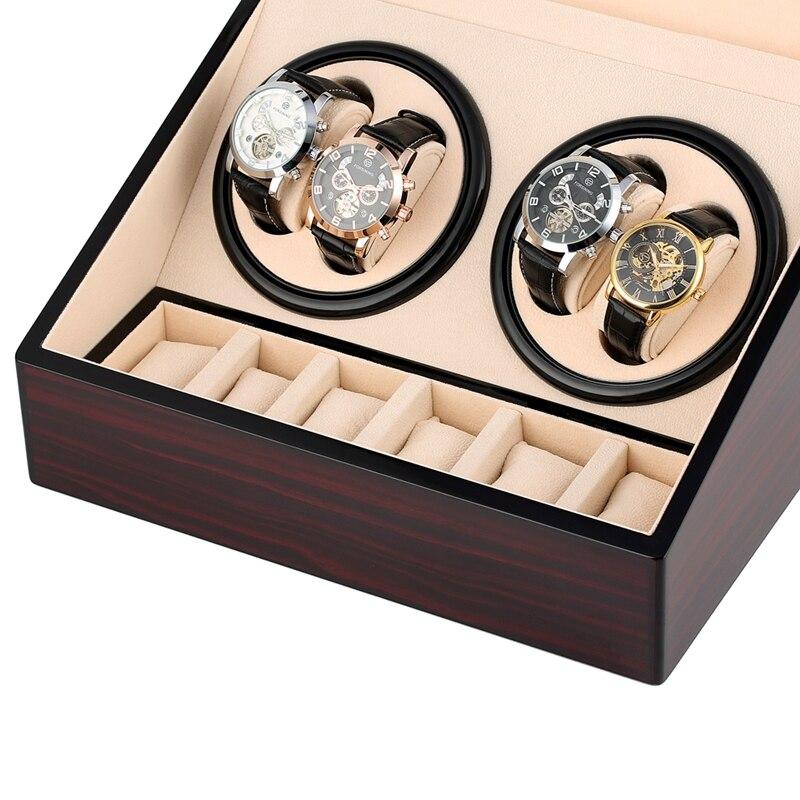 6 + 4 automatique montre remontoir bois moteur mécanique horloge remontoir stockage montre Case titulaire affichage remontoir silencieux rotateur montre boîte