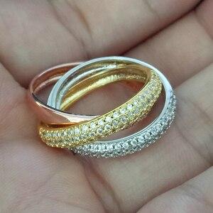 Image 4 - Bague Triple cercles, or Rose/argent, bijoux de luxe en trois couleurs, pavé dargent 925, cadeau de mariage pour femmes