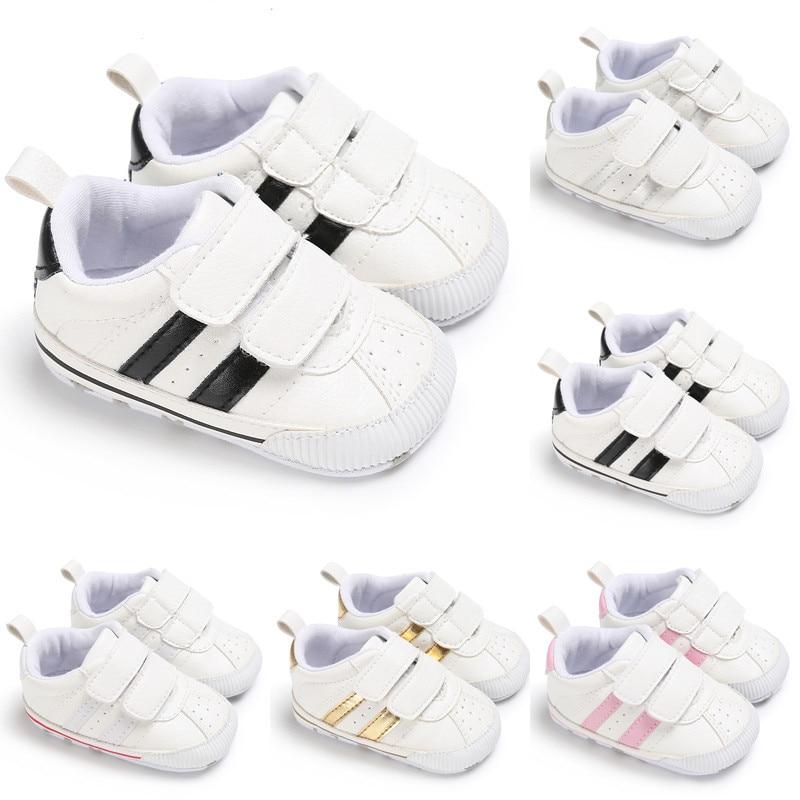 2019 Fashion Newborn Baby Crib Shoes Boys Girls Soft Sole White Pram Shoes Trainers Velcro Baby Crib Shoes Size 0-18M