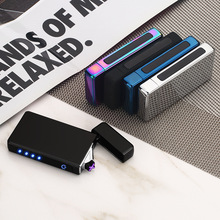 2019 Plasma Lighter USB Double Arc Electric Windproof Touch Controls Metal Smoking Accessories Men Gift
