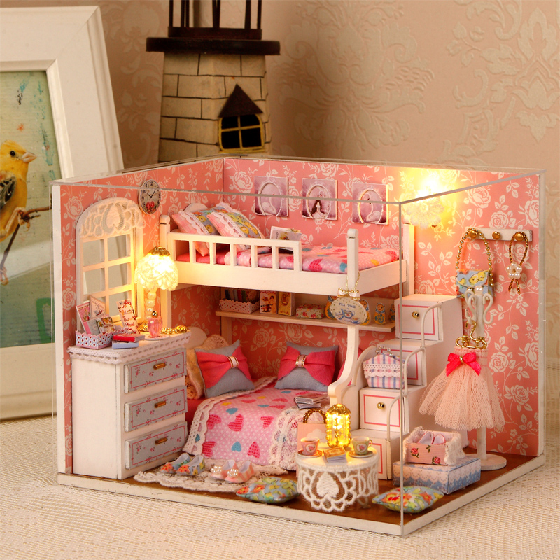 Assembler bricolage Miniatura maison de poupée jouet soleil rêver ange bricolage maison jouets avec meubles LED lumières anniversaire cadeau H-006