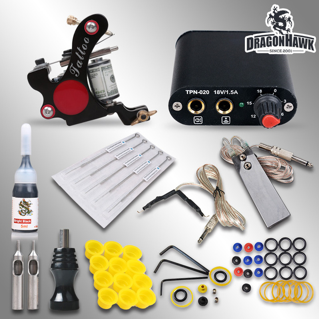 Beginner Tattoo Kit Machine Guns Tattoo Power Supply  Needles Inks  MGT-18GD-6