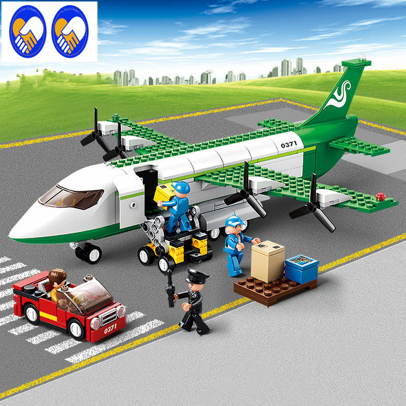 A Toy A Dream 0371 Sluban City Airport Airplane Building Blocks Toy Aircraft Model Bricks Toy City Planes Compatible with lepin