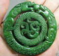 CHINESE OLD HANDWORK GREEN JADE CARVED DRAGON PENDANT A14
