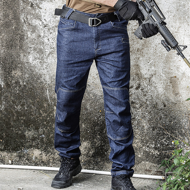 Pants Men Army SWAT Combat Denim Cargo Pants Spring Thin Casual Male Work Trousers Multi Pockets