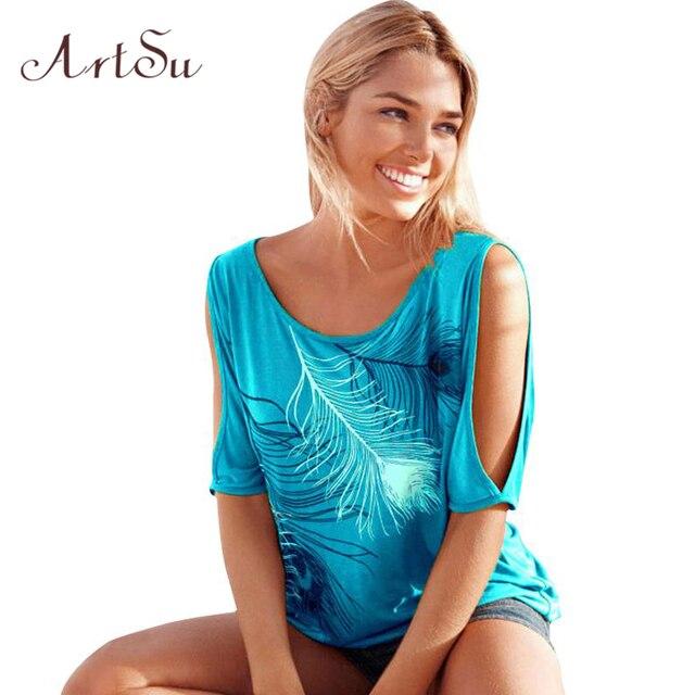 ArtSu T-Shirt Women Off Shoulder Feather Print Short Sleeve Summer Top Jumper T Shirt Feminina Women Tops Tee Shirt Femme TS5116
